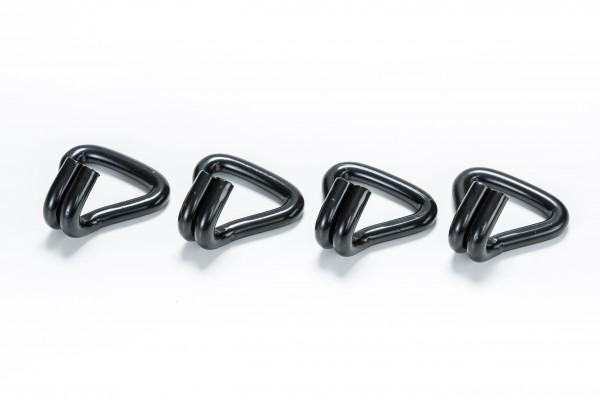 4x Spitzhaken / Doppelfingerhaken / Drahthaken für 50 mm Spanngurte schwarz