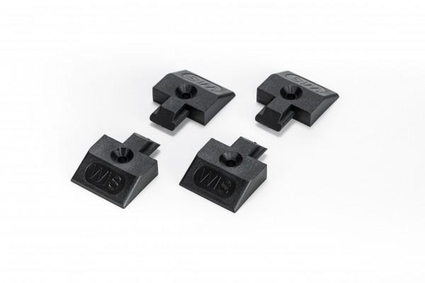 4x Endkappe Einsteckkappe für Airlineschiene Zurrschiene eckige Form schwarz