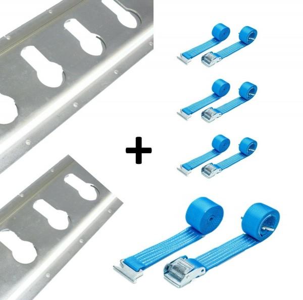 2x Schlüsselloch-Zurrschiene + 4x Klemmschlossgurte