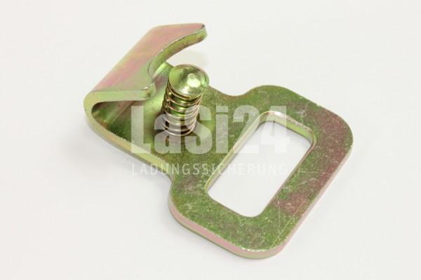 1x Flachhaken mit Sicherung für Stäbchenzurrschienen oder für 25 mm Spanngurte
