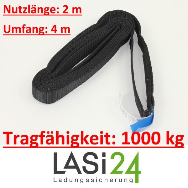 Bandschlinge 1000 kg schwarz 4 m