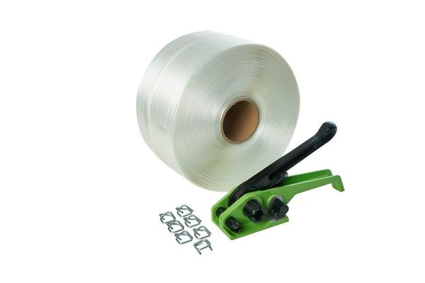 Umreifungsset 16 mm | Umreifungsband + Umreifungsgerät + Metallschnallen