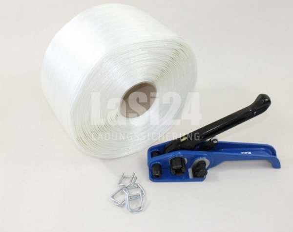 Textilband Umreifungsset 19 mm, Umreifungsband + Umreifungsgerät + Metallschnallen