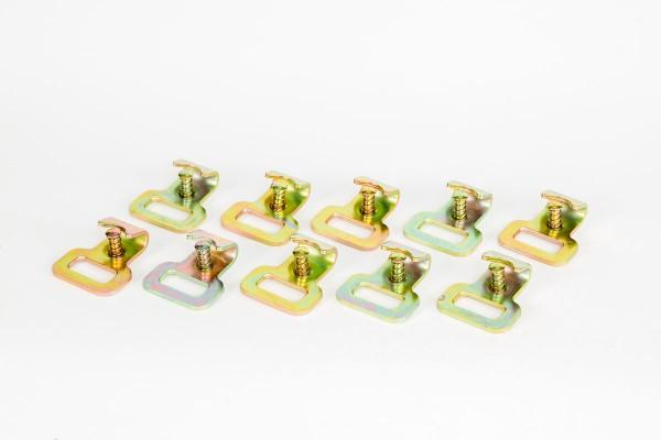10x Flachhaken mit Sicherung für Stäbchenzurrschiene oder 25 mm Spanngurt